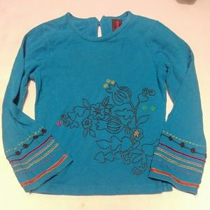 Catamini long sleeve teal tee for girls size 5